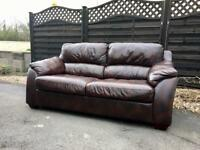 2 x 3 Seater Leather Settees CAN DELIVER. Brown.