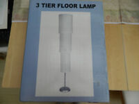 *****REDUCED 3 tier Floor standing lamp, with paper shade new and boxed, £5.00