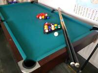 Pool table with 2 cues, pool and snooker balls