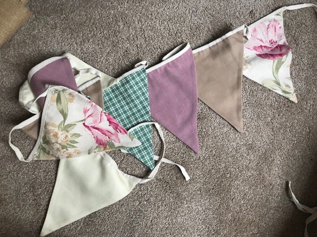 7 NEW UNUSED beautiful bunting double sided, 3m per length handmade wedding party decoration