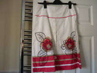 Next - White and Pink Flower Print Skirt - Size 6 - BRAND NEW