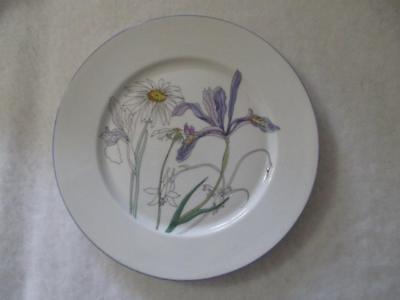 "Block Spal Hillside Salad Plate 8"" by Mary Lou Goertzen White Purple Excellent"