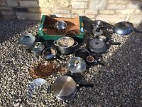 16 x TEFAL, PROFESSIONAL COOKWARE FRYING PANS POTS PANS LIDS -JOB LOT
