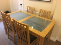 Solid wood table: with glass panels & four chairs