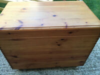 Beautiful solid wood storage chest/coffee table, very charming
