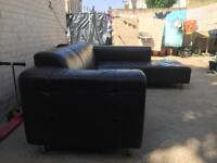 L shape leather sofa. In usable condition.