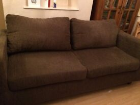 3 seater sofa in brown excellent condition very comfortable