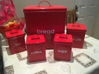 Red Bread Bin Kitchen Set