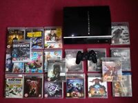 SONY PS3 PIANO BLACK CONSOLE + 22 GAMES!