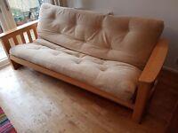Three seat wood sofa bed