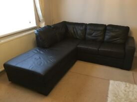 Left Hand Facing Chaise End 3 Seater Sofa, in Black Leather
