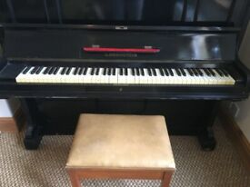 Bechstein piano, stool and metronome