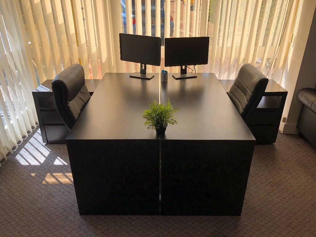 4 X Malm Desk With Pull Out Panel Black Brown Sold As Set In