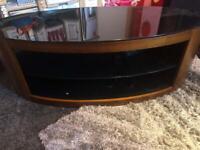 Black glass and walnut veneer tv unit
