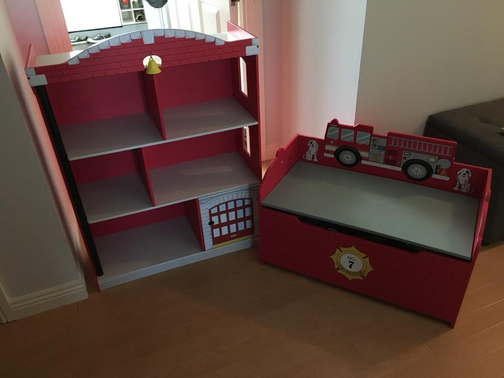 Fire Engine Bookcase Toy Box
