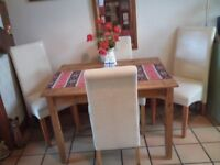 PINE KITCHEN/ DINING TABLE AND 4 CHAIRS