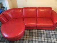 Large red leather sofa for sale
