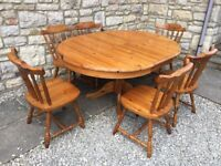 IMMACULATE SOLID PINE WOOD EXTENDING KITCHEN DINING TABLE 6 CHAIRS SHABBY CHIC