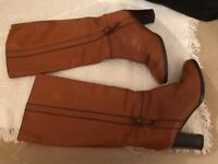Used, Light brown wide fitting, wide calf boots, size 8 for sale  Paignton, Devon