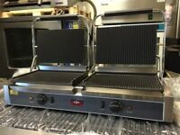 CATERING COMMERCIAL LARGE TWIN PANINI CONTACT GRILL KITCHEN EQUIPMENT CAFE SHOP CUISINE CAFE SHOP