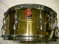 "Premier Model 21 polished brass snare drum 14 x 6 1/2"" -Leicester -Ludwig 402- '80s - later version"