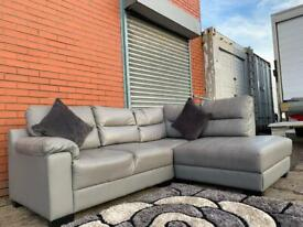 Grey leather corner sofa delivery 🚚 sofa suite couch furniture