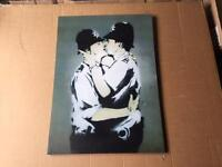 Large banksy kissing coppers canvas print