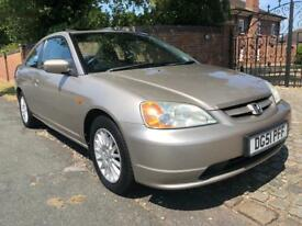 2001 LOVELY AND RARE HONDA CIVIC COUPE, LOW MILEAGE WITH HISTORY, MOT NOV 18