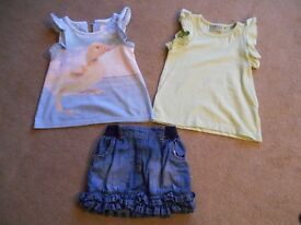 Girls Tops and Skirt - 12-18 months