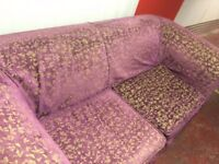 FREE Unique Hand Upholstered Purple and Gold Embroidered 2 Seater Settee
