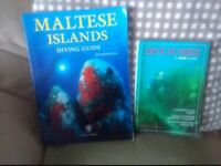 2 dive books - Maltese Islands, dive guide and Dive Sussex