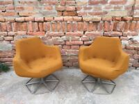 Big Metal Framed Foam Molded Swivel Cocktail Chair Early 60s Statement Furniture