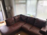 FREE Brown leather corner sofa