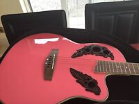 Brand new pink guitar with amplifier and case gear4music