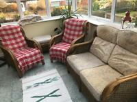 Cane Conservatory 3 piece chair set with cushions.