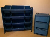 Child's blue storage unit with matching bedside drawers (Next)