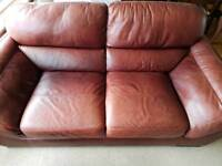 Couch sofa leather 2 and 3 seater with footstool very comfortable and sturdy burgundy
