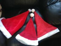 3 Santa Hats Red with White Trim as in Photos Best Xmas Ever