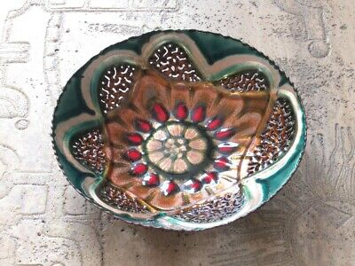 Vintage Trash Can Artistic Copper Enamelled Signed Cellini Age Xx Century Italy