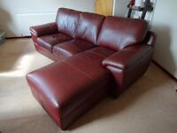 3 seater leather sofa with chaise lounge