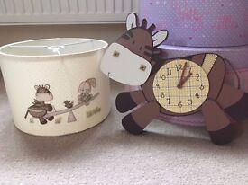 Mapas and papas clock and lampshade