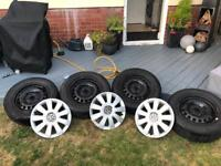 4 x VW Golf Mk 6 steel wheels with tyres and 3 VW wheel trims
