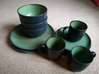 Green stoneware dinner set, plates, bowls, mugs