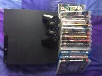 PlayStation 3 Slim 120gb with 1 controller, cables and 12 games