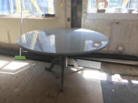 Grey circular country kitchen dining table