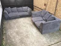 Grey ribbed fabric sofas 3+2 seater •free delivery•