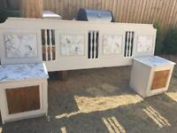 Headboard and bedside table cupboard