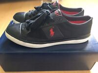 Polo Ralph Lauren Trainers Size 9 Black/Red Deadstock !
