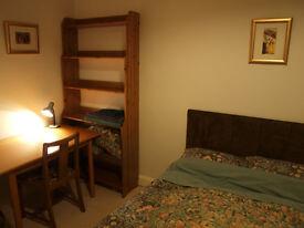 Double bed in quiet flatshare in 2 bed traditional tenement block, ground floor