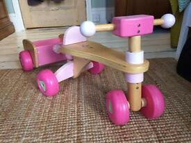 Pink wooden ELC first trike and trailer